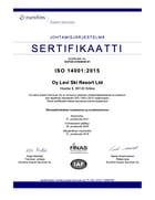 Oy Levi Ski Resort Ltd - ISO 14001 Sertifikaatti 2018